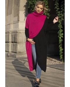 Яркий модный длинный свитер Fobya F553
