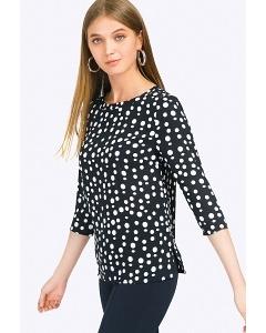 Чёрная женская блузка в белый горох Emka B2354/becky