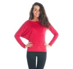 Асимметричная блузка брусничного цвета