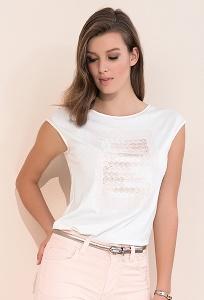 Кремовая летняя женская блузка без рукавов Zaps Scarlet