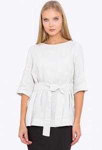 Летняя льняная блузка с поясом Emka b 2235/talifa