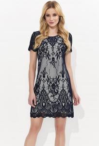Чёрное кружевное платье с белым подкладом Zaps Ariel