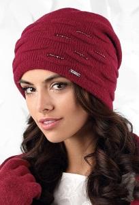 Двойная шапка винного цвета Kamea Savona