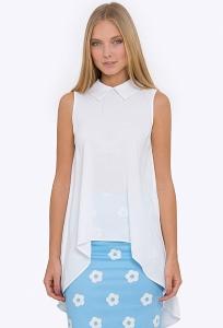 Купить белую блузку с асимметричным низом Emka b 2246/anet в интернет-магазине недорого
