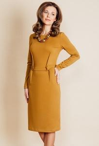 Платье горчичного цвета TopDesign B6 051