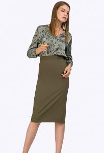 Женская миди-юбка цвета хаки Emka S786/rise