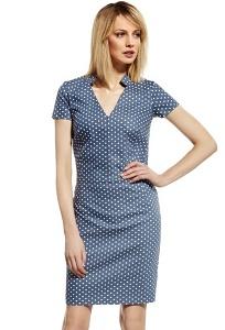 Летнее синее платье в белый горошек Enny 230074