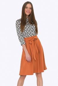 Расклешенная юбка терракотового цвета Emka S247/jaxy