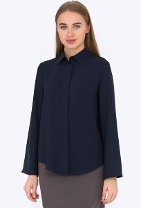 Женская офисная рубашка тёмно-синего цвета Emka b 2212/azura