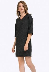 Короткое платье из тёмно-серой полушерсти Emka PL713/otrada