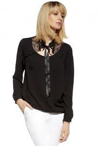 Чёрная трикотажная блузка с кружевными вставками Enny 230062