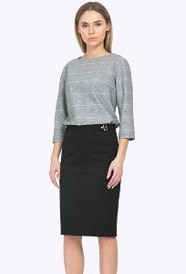Черная юбка-карандаш с декоративными деталями Emka S687/djolin