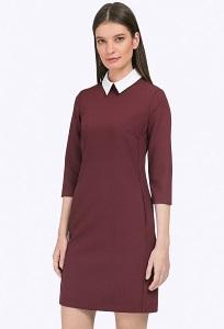 Короткое платье для офиса бордового цвета Emka PL440/maleta
