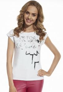 Белая женская футболка польского производства Briana 8810