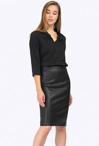 Чёрная юбка-карандаш из искусственной кожи Emka S770/oktyabrina