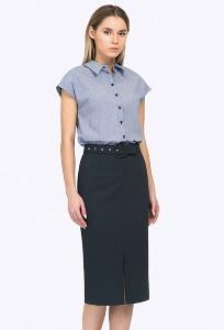 Тёмно-синяя юбка с поясом Emka S745/trees