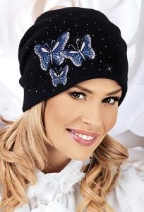 Женская шапка с бабочками из страз Willi Molina