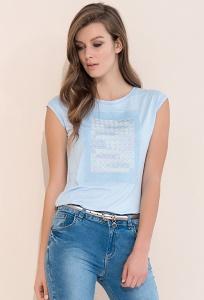 Голубая летняя женская блузка без рукавов Zaps Scarlet