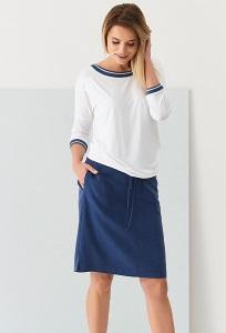 Тёмно-синяя юбка из материала тенсель Sunwear QC403-3