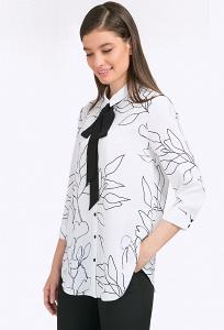 Лёгкая белая блузка с чёрным бантом Emka B2376/gemma