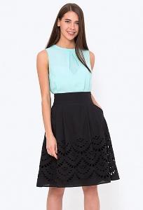 Шикарная расклешенная юбка чёрного цвета Emka 247/bloom