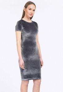Бархатное платье серебристо-серого цвета Emka PL803/lart