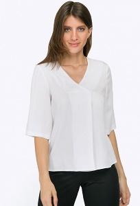 Белая блузка с имитацией запаха Emka B2293/desponi