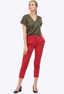 Красные брюки-чиносы с небольшими отворотами Emka D074/saltar