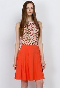 Яркая оранжевая летняя юбка Emka Fashion 606-safran