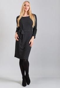 Чёрное платье в белый горошек TopDesign B8 100