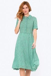 Летнее платье в бело-зеленую клетку Emka PL-572-1/gretta