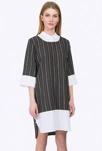 Платье с белым воротником с рукавом три четверти Emka PL752/cloud