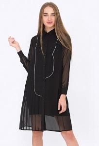 Чёрное платье-рубашка из шифона PL-560/bursa