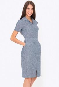 Платье-футляр из хлопка с воротником Emka PL-629/laima