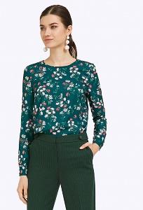 Зеленая блузка с цветочным орнаментом Emka B2324/ravana