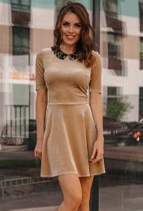 Бархатное платье с кружевным воротником Donna Saggia DSP-264-24t