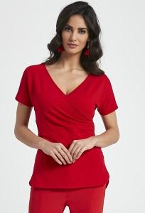 Красная блузка с v-образным вырезом Enny 250081