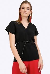 Черная блузка c V-образным вырезом Emka B2402/harvi