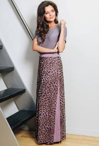 Длинная трикотажная юбка леопардовой расцветки TopDesign A7 071