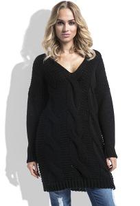 Длинный чёрный свитер Fimfi I232
