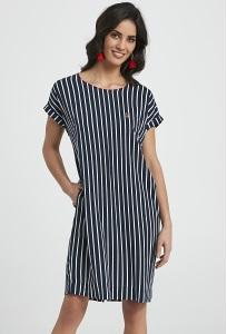 Синее платье в белую полоску Enny 250043