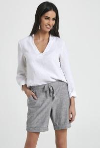 Летние льняные шорты серого цвета Ennywear 250004