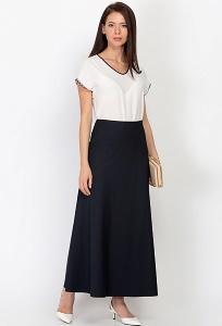 Тёмно-синяя длинная юбка Emka Fashion 314-shelbi