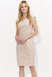 Светло-розовое кожаное платье-футляр Zaps Lamia