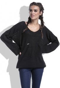 Женский свитер чёрного цвета Fobya F439