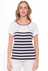 Белая блузка в синюю полоску Sunwear W50-3