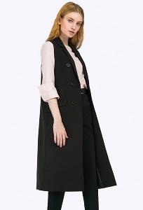 Длинный чёрный жилет Emka GL033/premiera
