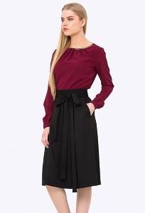 Чёрная юбка с мягкими складками Emka 721/djolin