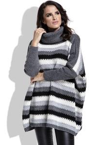 Теплый полосатый свитер oversize Fobya I211