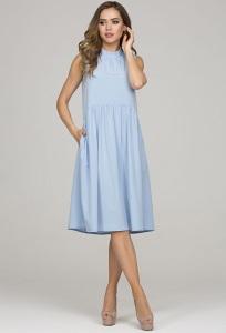 Голубое летнее платье без рукавов Donna Saggia DSP-327-81